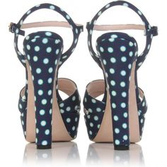 Miu Miu Polka-Dot Sandals ($295) ❤ liked on Polyvore featuring shoes, sandals, heels, scarpe, sapatos, women, miu miu shoes, open toe platform sandals, ankle wrap sandals and high heel platform sandals