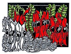Sturt Desert Pea Classic - Limited Edition Handpainted Linocut by Lynette Weir Margaret Preston, Linocut Artists, Australian Wildflowers, Linoleum Block Printing, Ap Studio Art, Linoprint, Postcard Design, Australian Artists, Woodblock Print
