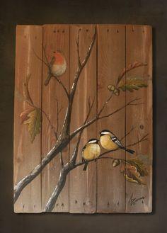 Original painting of birds made on recycled di LaSaviaDelArtesano