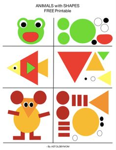 Create animals with shapes, shape art, shape cutouts for children in advance . - Create animals with shapes, shape art, shape cutouts for preschoolers – cutouts - Preschool Learning Activities, Preschool Printables, Toddler Activities, Preschool Activities, Toddler Worksheets, Nature Activities, Wedding Activities, All About Me Activities For Preschoolers, Animal Activities For Kids