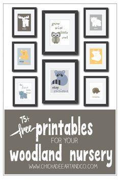 FREE printable nursery art for your woodland nursery and plenty of woodland nursery inspiration courtesy of Chickadee Art and Company.