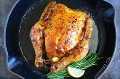 Simple Roast Chicken with Garlic and Lemon | http://www.justataste.com/simple-roast-chicken-garlic-lemon-recipe/
