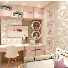 Really inspiring Teen Girl Bedrooms for fun design, reference 6870766856 Kids Bedroom Designs, Room Ideas Bedroom, Home Room Design, Small Room Bedroom, Bedroom Colors, Home Bedroom, Bedroom Decor, Small Modern Bedroom, Study Room Decor