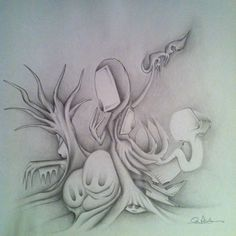 I Halloween drawing I did last year. Graphite on paper.