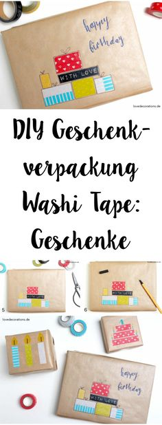 DIY gift packaging with washi tape and my tutoring kids - Love Decorations - DIY Gift Wrapping with Washi Tape: Gifts Birthday Cards For Boyfriend, Happy Birthday Cards, Diy Birthday, Birthday Greeting Cards, Birthday Gifts, Washi Taoe, Washi Tape Diy, Diy Gift Box, Diy Box