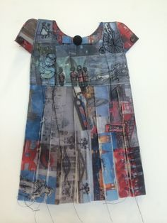 Kirsty Whitehead - Book 3 'London City' Theme: British Heritage Inspiration: Jennifer Collier & Rita Zepf & Elizabeth Lecourt Technique: Tea Bag Fabric Template, Image Collaging, Waxing, Selected Stitching With Dangling Thread, Collar & Cuff Detail, Button Detail.