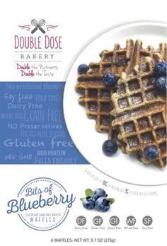 Bits of Blueberry Flavor- Double Dose Bakery 10G of protein and 9G of fiber in each serving! All natural, ready-to-eat waffles Grain Free | Gluten Free | Paleo Friendly | Dairy Free | Soy Free | No Refined Sugar