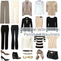 Build your work wardrobe base with a neutral palette. You can mix and match these pieces for the office...and the jeans are good for casual Friday!