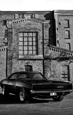 Even more beautiful in black and white! If you have a Dodge Charger, check out w… Even more beautiful in black and white! If you have a Dodge Charger, check out www.morrisclassic… for seat belts and lap belts! Vintage Jeep, Vintage Cars, Hot Cars, Dodge Charger 1968, F12 Berlinetta, Custom Muscle Cars, Mustang Cars, Pontiac Gto, American Muscle Cars