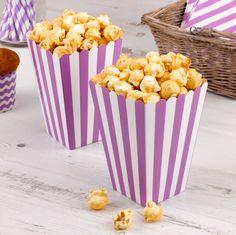Party - Popcorn Boxes - Stripes - Carnival - Purple