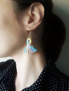 Pastel Shimmer Tassel Earrings, Cotton Candy Fringe Drop Earrings, Soft Jewellery by TheGentleCoast on Etsy