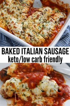 This Easy Keto Baked Italian Sausage dinner is a delicious and quick recipe you will want to keep. Seared sausage smothered in a marinara sauce and topped with melted mozzarella cheese: everyone will love this low carb, flavor-packed meal! Low Carb Keto, Low Carb Recipes, Diet Recipes, Healthy Sausage Recipes, Recipies, Low Carb Bake, Sausage Dinner Recipes, Healthy Easy Food, Easy Keto Recipes