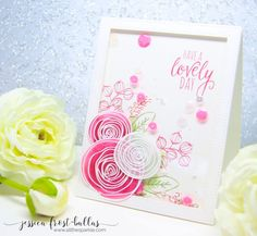 SSS Sketch Ranunculus; SSS Lovely Spring; vellum; stitched rectangle frame die; pink and white; floral; flower die