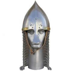 Historical Conical nasal helmet with Chin mail Free Helmet Stand And Liner Helmet, Darth Vader, Fictional Characters, Free, Helmets, Hockey Helmet, Fantasy Characters