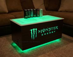 This is a prototype co-branded table we just completed for a nightclub owner in NYC. The client is trying to push Monster Energy and Absolut Vodka so this - Monster Energy & Absolut Vodka LED Coffee Table