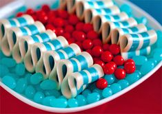 red and aqua candy
