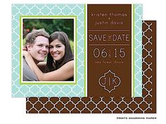 Prints Charming Paper | Save The Date | Aqua Quatrefoil Photo Digital Photo Card Save The Date (P.Charming) | The PrintsWell Store
