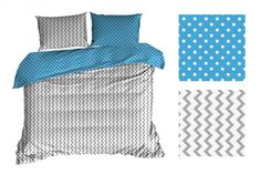 Modro bílé povlečení s cik cak vzorem oboustranné - dumdekorace. Comforters, Organization, Blanket, Bed, Furniture, Home Decor, Creature Comforts, Getting Organized, Homemade Home Decor