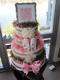 Custom Made to Order Shabby Chic Rustic Boutique Style Diaper Cake via Etsy. Great baby shower or new mom gift. Baby Shower Cakes, Baby Shower Themes, Baby Shower Decorations, Baby Shower Gifts, Baby Gifts, Shower Ideas, Shabby Chic Cakes, Mesas Para Baby Shower, Nappy Cakes