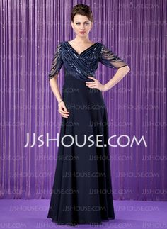 A-Line/Princess V-neck Floor-Length Chiffon Tulle Mother of the Bride Dress With Ruffle Beading Sequins (008018715)
