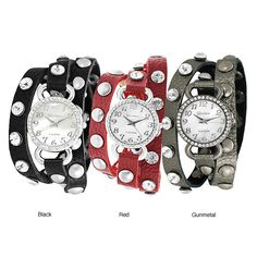This wraparound rhinestone watch features a unique look that coordinates with your trendy outfit. Silvertone snaps and rhinestones decorate the simulated leather strap that wraps around your wrist. A mother of pearl dial is surrounded by rhinestones.