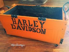 "Harley Davidson Crate Knock Off, fun DIY project! Or any ""themed"" crate. Great Farther's Day gift."