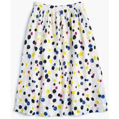 J.Crew Collection Tossed Dot Midi Skirt ($360) ❤ liked on Polyvore featuring skirts, long polka dot skirt, mid calf skirts, white skirt, midi skirt and j. crew skirts