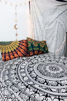 ☽ ✩ ☾Bohemian Bedroom Inspiration | Silver Gypsy Goddess Mandala Duvet Tapestry| Gold Moon Phase Wall Hanging Decor by Lady Scorpio @LadyScorpio101 | Shop Now LadyScorpio101.com | @LadyScorpio101 | Photography by Luna Blue