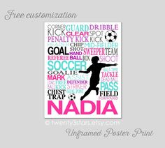 Girl's Soccer Typography Art Print, Perfect Girl's Room Art, Choose the Colors, Personalized Gift for any Soccer Lover Soccer Team or Coach