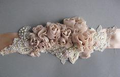 Wedding bridal sash belt Vintage Nude Terracotta Ivory Champagne romantic - dress ribbon rustic accessory lace pearls rhinestone crystal. $162.00, via Etsy.champagne nude