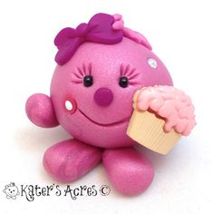 LOLLY with Cupcake  Polymer Clay Figurine by KatersAcres on Etsy