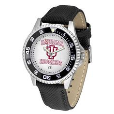 "Indiana Hoosiers NCAA ""Competitor"" Mens Watch by SunTime. $73.79. Rotating Bezel. Calendar Date Function. Color Coordinated. Showcase The Hottest Design In Watches Today! A Functional Rotating Bezel Is Color Coordinated To Highlight Your Favorite Team Logo. A Durable, Long Lasting Combination Nylon/Leather Strap, Together With A Calendar Date, Round Out This Best Selling Timepiece."
