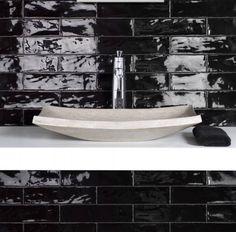 Black Glossy Handmade subway#design #tiles #subway #handmade #stone #home #interior #exterior #finishes #fittings #decor #interior #interiordesign #bathroom #kitchen #splashback #gloss #porcelain #marble #granite #melbourne #australia #brunswick