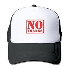 """Adult No Thanks The Adjustable Snapback Trucker Hat. 100% Nylon Mesh Back Keeps You Cool. 100% Polyester Foam Front. Hand Washing Only. Adjustable From 17"""" To 24"""". Customized Pattern Design,Perfect As A Gift,High Quality And Environmentally Friendly Printed."""
