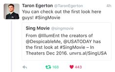 Taron Egerton. Singing. In an animation. Playing as my favourite animal ♥️♥️