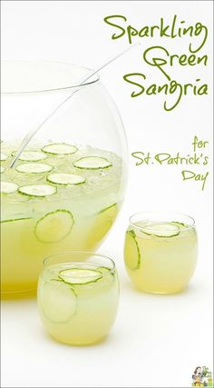 A light, gluten free green sangria cocktail recipe for St. Patrick's Day - or any day!