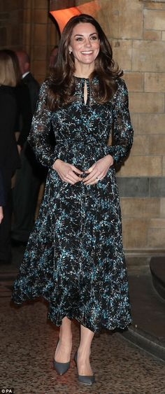 The Duchess of Cambridge, 34, looked stunning in a black cocktail dress by British label Preen as she arrived at an awards ceremony for the charity Place2Be in London tonight.