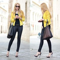 Can't get enough (by Henar Vicente)   I absolutely die for this jacket and the shoes. Simple, yet bold.