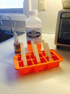 My daughter knows when I'm trying to hydrate her with electrolytes- she's clever! So I have to out clever her with Pedialyte Popsicles! I added her daily dose of Vitamin D as well. One a day! She thinks it's a treat and I feel happy.