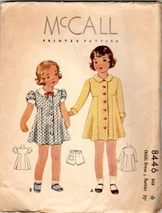 """anni trenta ragazze abito & mutandine modello - taglia 6, seno 24""""- McCall 8446 di JeaniesShop su Etsy https://www.etsy.com/it/listing/194721763/anni-trenta-ragazze-abito-mutandine"""