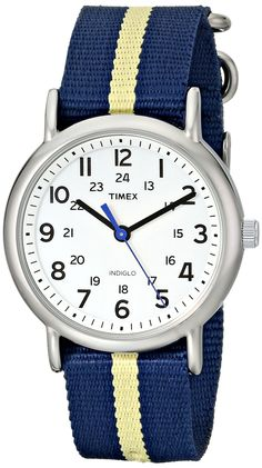 Amazon.com: Timex Unisex T2P1429J Weekender Silver-Tone Watch with Blue and Yellow Nylon Band: Timex: Watches