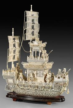 象牙船 (7), Art Ivory boat.
