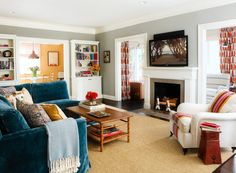 Living room with fresh colors and fireplace