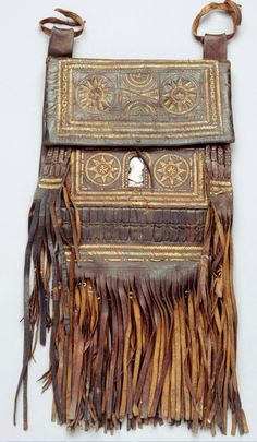Africa   Shoulder bag from Morocco   Leather and glass    Shoulder strap is missing