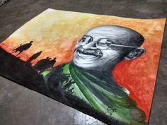 Gandhi ji painting by artist pravish rahi Drawing Themes, Drawing Designs, Art Drawings Sketches, Mahtma Gandhi, Gandhi Quotes, India Painting, Sky Painting, Save Water Drawing, Onam Wishes