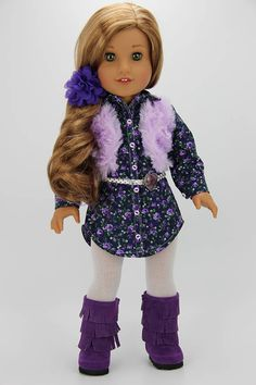Handmade 18 inch doll clothes Purple and navy 5 piece shirt