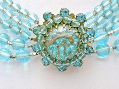 Miriam Haskell Necklace Aqua Blue Glass Bead Foiled Rhinestone Vintage Signed