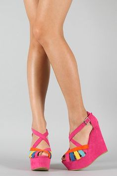Multicolor Strappy Criss Cross Open Toe Wedge Pink