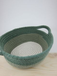Coiled t-shirt fabric basket.