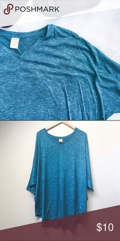 Cold-Shoulder Tunic Sweater Beautiful deep teal blue cold-shoulder tunic-length lightweight sweater. Fabric is heathered for a beautifully textured look.  ✅Offers ✅Bundle & Save 🚫Trades 🚫Off-Posh 🚫Modeling Faded Glory Sweaters